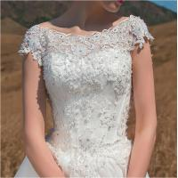 Quality OEM Graceful Short Sleeve illusion neckline puffy Wedding Dresses Beaded for sale