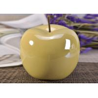 Wholesale Decorative Ceramic Wedding Table Centerpieces Yellow Glazed Apple Shaped from china suppliers