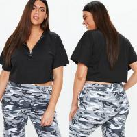 Wholesale Plus Size Black Ring Pull T Shirt Clothing Women from china suppliers
