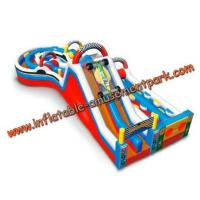 Colorful Round Combo Obstacle Course Bounce House For Rental