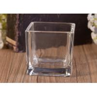 Wholesale Mini Square Cube Shaped Glass Candle Holder Clear Replacement Glass Candle Vessel from china suppliers