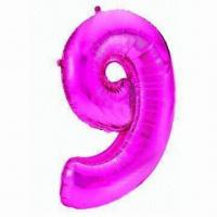 Wholesale 9 Number Balloon, Made of PA, PE and AL, Two Sizes, Used for Parties from china suppliers