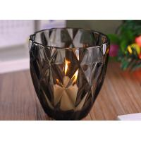 Quality Coloring Material Wedding Glass Candle Holder With Diamond Design , eco Friendly for sale