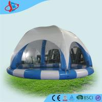 Wholesale Shallow Blue and White 10 Meters Round Inflatable Pool and Tent , Inflatable Fun Games from china suppliers