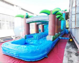Wholesale Long Palm Tree Bouncer Bounce House Inflatable Water Slide With Pool from china suppliers