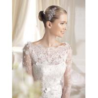 Quality Luxurious Long Sleeve Illusion Neckline Wedding Dresses with lace covered back for sale