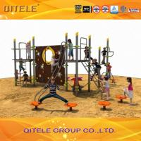China QITELE Climbing Wall Kids Outdoor Gym Equipment With Aluminum / Galvanized Post Material Parts on sale
