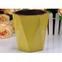 Wholesale Hexagon Shape yellow contemporary Ceramic Candle Holder Color Glazed For scented Wax from china suppliers