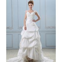 Wholesale Summer capped sleeve heart shaped layered wedding dresses with sweep train , White from china suppliers