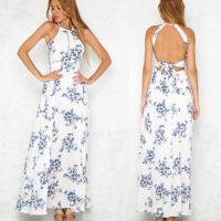 Wholesale Bohemian Halter Backless Sleeveless Floral Printed Slit Maxi Long Dress for Woman from china suppliers