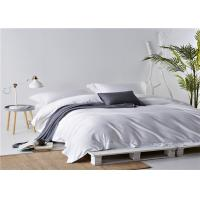 Wholesale White Dorm Bedding Sets With Satin Stripe 100% Cotton 250TC / Twin Bedding Sets from china suppliers