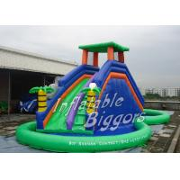 China Home Party Water Pool Slide Rental Inflatable Green , Blow Up Water Slides on sale