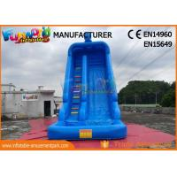 Blue Color Outdoor Inflatable Water Slides With Swimming Pool TUV ROHS EN71