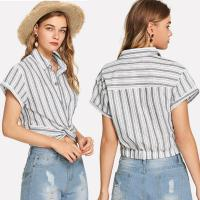 Wholesale 2019 Fashion women stripe design blouse with shirt collar from china suppliers