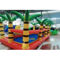 Wholesale Outdoor Garden Inflatable Swimming Pool With Palm Tree Fence For Kids Playing from china suppliers