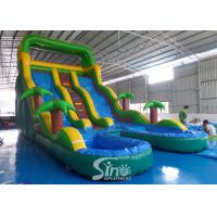 China 25' high tropical plam trees commercial kids inflatable water slide with double pool from China inflatable manufacturer on sale