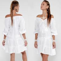 Quality 2018 Summer women off shoulder white dress for sale