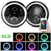Buy cheap 3700lm Cree 70 W RGB LED Halo Headlights For Jeep Wrangler JK Bluetooth App from wholesalers