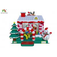 Wholesale Red / White Color Inflatable Bouncy Castle House With Christmas Tree For Business from china suppliers