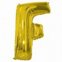 Wholesale Alphabet Balloon-F, Made of PA and PE and AL, Golden and Silver Colors, Used for Parties or Weddings from china suppliers