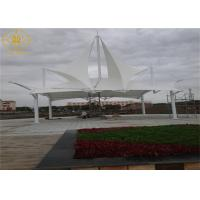 China White Tensile Canopy Structures Landscape Tensile Membrane Fabric Structure on sale