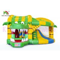 Wholesale Green / Yellow 0.55mm PVC Commercial Bounce Houses And Slide With CE Approved from china suppliers