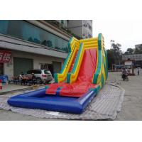 China Squared Pool Huge Inflatable Water Slide , Digital Printing Kids Blow Up Water Slide on sale