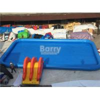 China Rectangle Shape Inflatable Pool With Small Slide For Water Ball Or Paddle Boats on sale