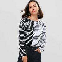 Wholesale Antumn Women Contrasting Stripes Long Sleeve T-shirt from china suppliers