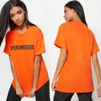 Wholesale Overdress ladies printed T shirt with O neck from china suppliers
