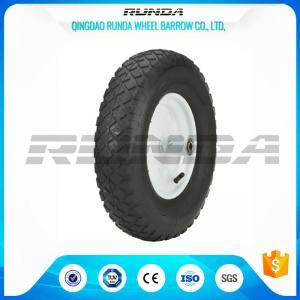 Blocky Patterns Pneumatic Rubber Wheels 2PR ,  Hand Trolley Wheels8 Steel Rim