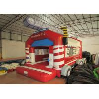Wholesale Firetruck Commercial Bounce House Quadruple Stitching  , Inflatable Jumping Castle 5 X 6m from china suppliers