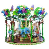 Adjustable Speed Animal Kids Carousel Ride With 12 Riders Forest Style CE / ISO