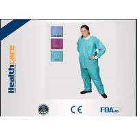 China Green Blue Medical Disposable ClothingNon Toxic Nonwoven Round Neck Suits on sale