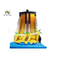 China Dual Lane Yellow 32.81ft Backyard Water Slides For Adults With Coconut Tree And Pool on sale