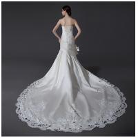 Wholesale Ladies Sweetheart Neckline Satin Wedding Dresses with cathedral train , white from china suppliers