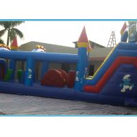 Buy cheap Commercial Smurfs Inflatable Obstacle Course With Slide N Digital Printing from wholesalers
