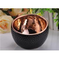 Wholesale 368ml Black Glazed ceramic candle containers with Rose Gold Electroplated Inside from china suppliers