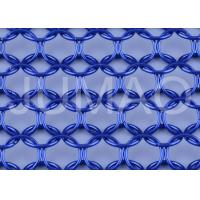 Wholesale Architectural Metal Ring Curtain , Dark Blue Sun Rot Proof Ring Mesh Curtain from china suppliers