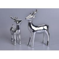 Quality Silver Mercury Animal Ceramic Mantle Shelf Table Centerpiece Deer Decor for sale