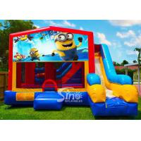 Wholesale 7in1 kids Despicable Me minion bounce house with basketball hoop N obstacles inside for sale from china suppliers
