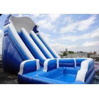 China Giant Commercial Water Slides , Blue Kids Inflatable Water Slides With Pool on sale