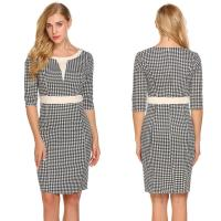 Wholesale Popular white and black gingham pencil dress from china suppliers