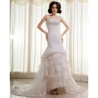 Quality Slim Beaded Sequin Strapless Wedding Gowns layered Lace Wedding Dresses for sale