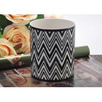 Wholesale Round Hand Made Ceramic Candle Holder Black white Interphase Engrave from china suppliers