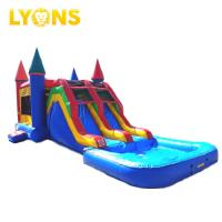 China Blue Red Combo Slide Pool Inflatable Bouncy Castle For Water Park 7*4*4m on sale