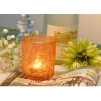 Quality Gifts Tealight Glass Candle Holder Orange Romantic Heat Resisting for sale