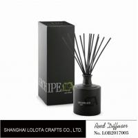 Wholesale Black round bottle glass reed diffuser with black sticker and folding box from china suppliers