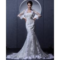 Wholesale Slim Vintage Lace Bra Appliques mermaid Wedding Dress with cape for Spring , Autumn from china suppliers