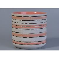 Wholesale Pink Inside Glazed Ceramic Candle Holder Hand Painted Black Lines 516 ml from china suppliers